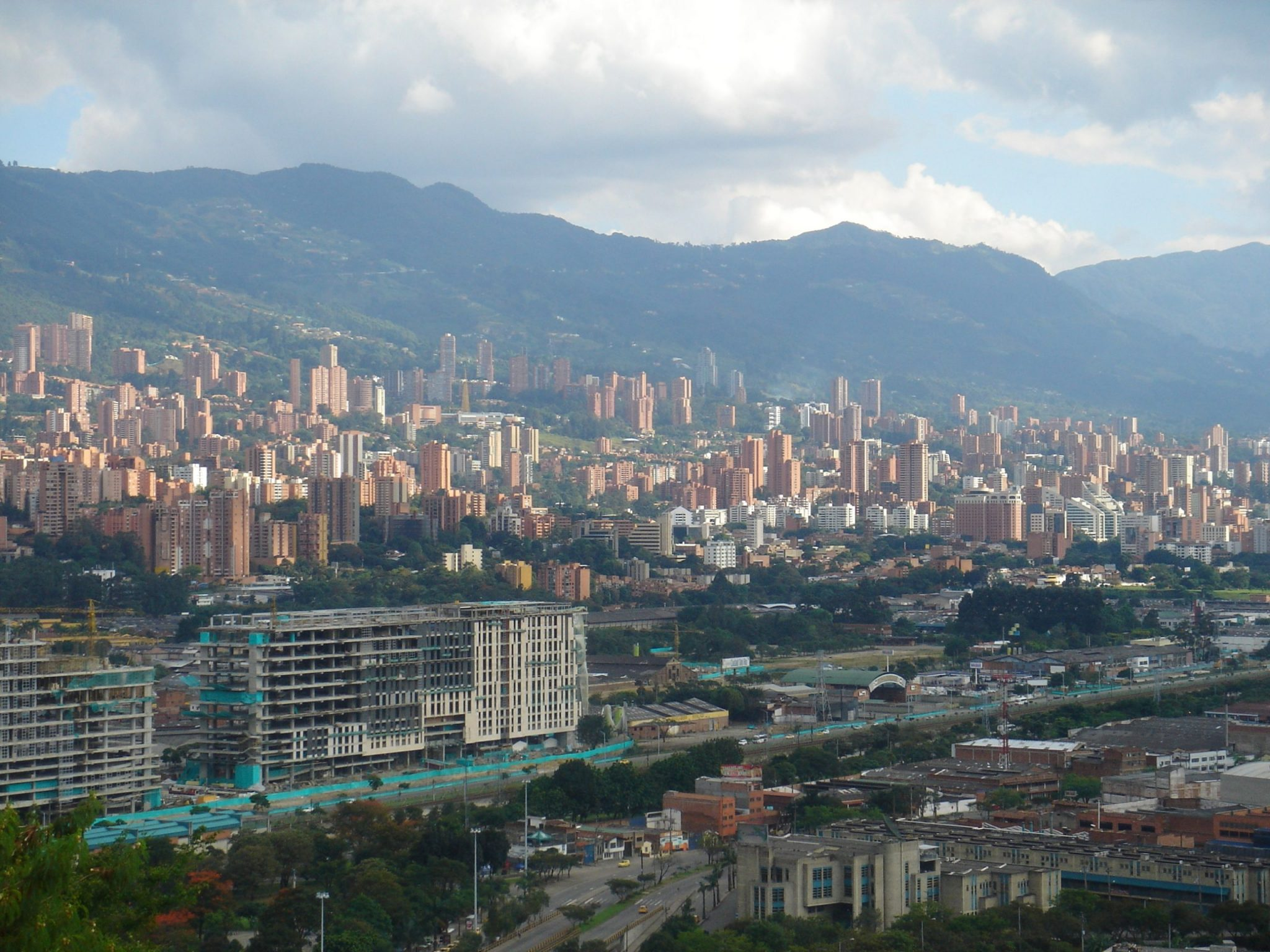 Medellin from the sky during travel restrictions.
