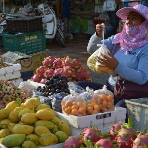 A merchant in Cambodia.