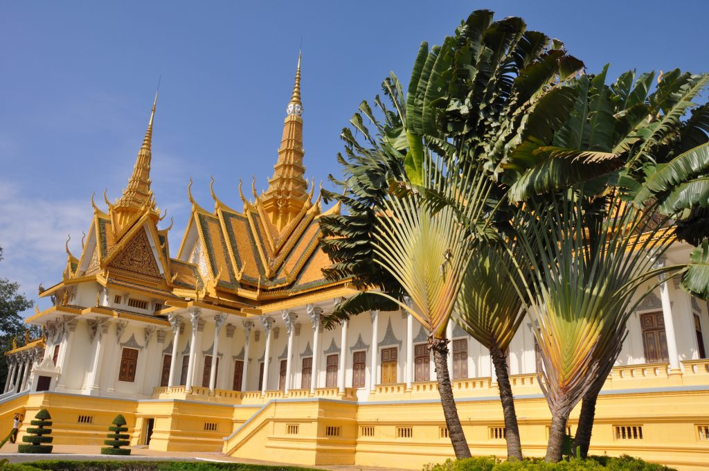 An elaborate traditionally Cambodian building.