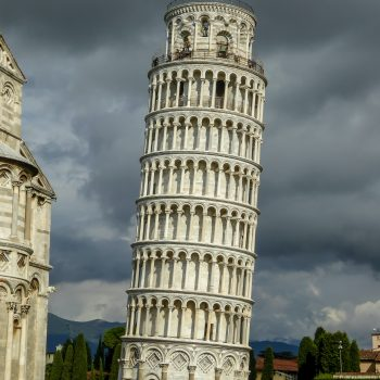 The Leaning Tower of Pisa before a storm.