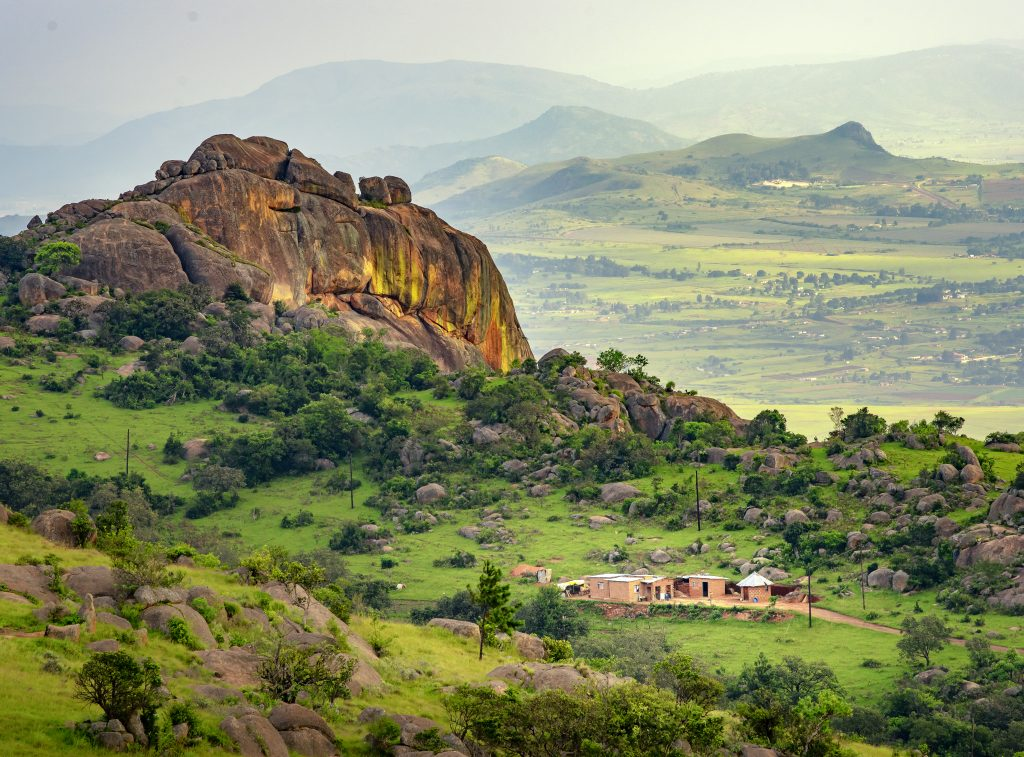 Ezulwini Valley In Swaziland Eswatini With Beautiful Mountains and Trees
