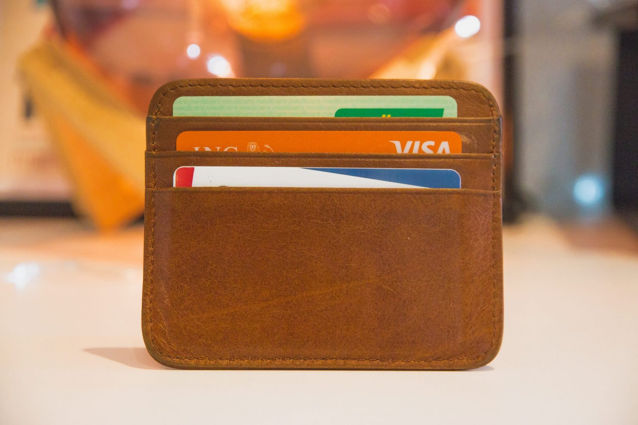 A photo of a wallet, which is where you should keep your important cards